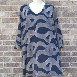 Veronicam Tunic Shirt Black Print Size XL